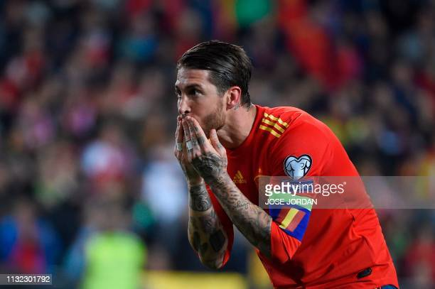 TOPSHOT Spain's defender Sergio Ramos celebrates after scoring a goal during the Euro 2020 group F qualifying football match between Spain and Norway...