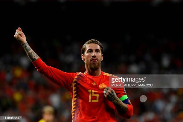 Spain's defender Sergio Ramos celebrates after scoring a penalty during the UEFA Euro 2020 group F qualifying football match between Spain and Sweden...