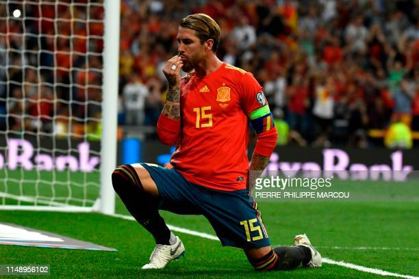 TOPSHOT Spain's defender Sergio Ramos celebrates after scoring a penalty during the UEFA Euro 2020 group F qualifying football match between Spain...