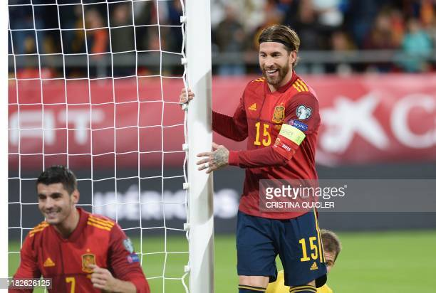Spain's defender Sergio Ramos celebrates after Spain's forward Alvaro Morata scored a goal during the Euro 2020 Group F football qualification match...