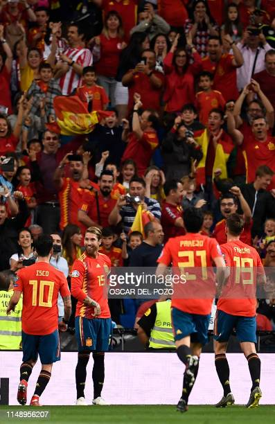 Spain's defender Sergio Ramos celebrates his goal during the UEFA Euro 2020 group F qualifying football match between Spain and Sweden at the...