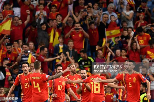 Spain's defender Sergio Ramos celebrates his goal with teammates during the UEFA Euro 2020 group F qualifying football match between Spain and Sweden...