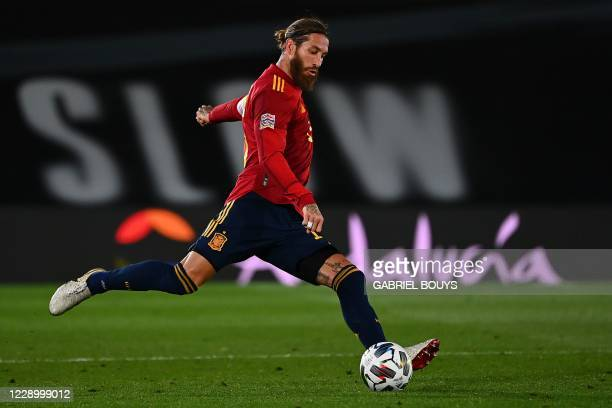 Spain's defender Sergio Ramos controls the ball during the UEFA Nations League A group 4 football match between Spain and Switzerland at the Alfredo...