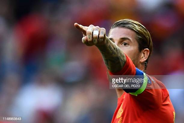 Spain's defender Sergio Ramos gestures during the UEFA Euro 2020 group F qualifying football match between Spain and Sweden at the Santiago Bernabeu...