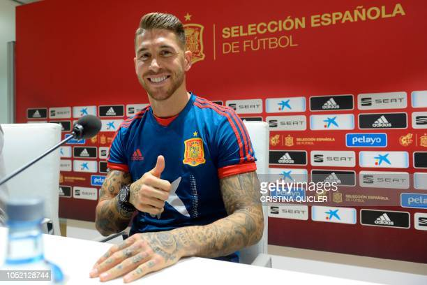Spain's defender Sergio Ramos gives a press conference at the Benito Villamarin stadium in Sevilla on October 14 on the eve of the UEFA Nations...