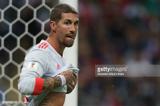 Spain's defender Sergio Ramos looks on during the Russia 2018 World Cup Group B football match between Iran and Spain at the Kazan Arena in Kazan on...