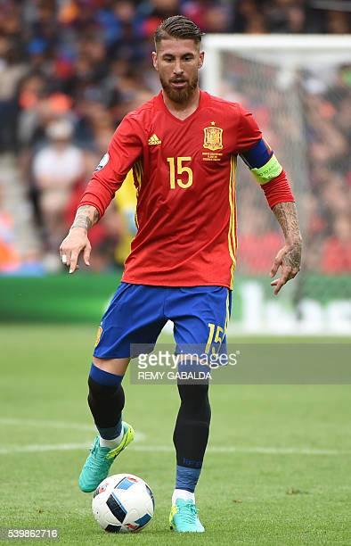 Spain's defender Sergio Ramos looks to pass during the Euro 2016 group D football match between Spain and Czech Republic at the Stadium Municipal in...