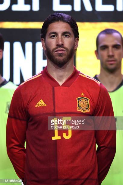 Spain's defender Sergio Ramos poses during the presentation of Spain's new jersey for the UEFA Euro 2020 Championship at Las Rozas football sports...