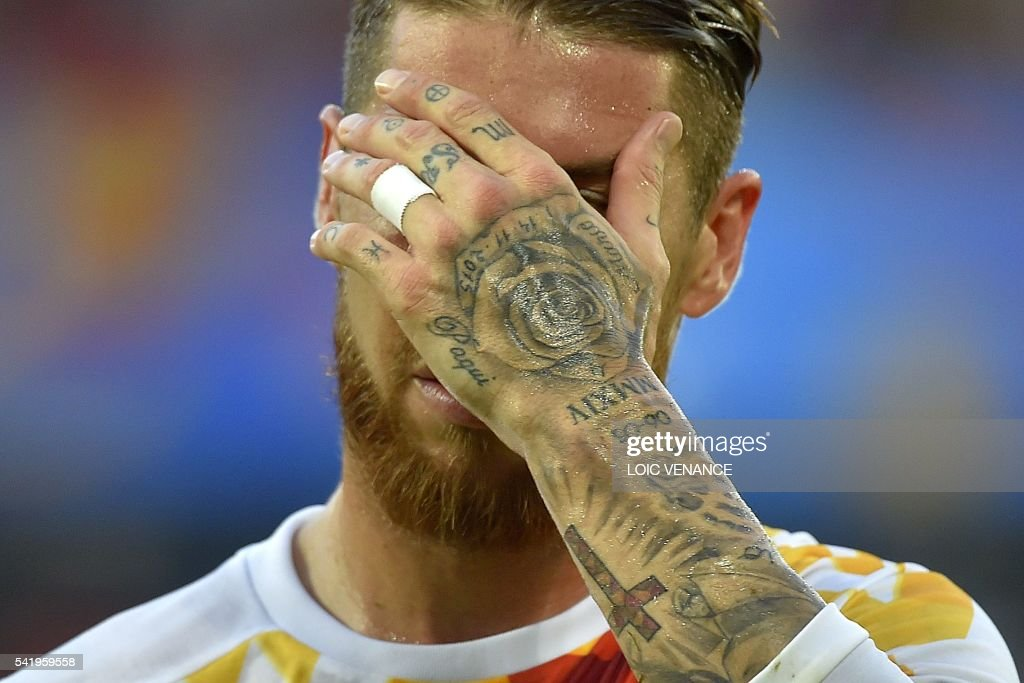 Spain's defender Sergio Ramos reacts after conceading during the Euro 2016 group D football match between Croatia and Spain at the Matmut Atlantique stadium in Bordeaux on June 21, 2016. /