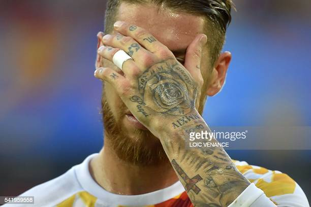 Spain's defender Sergio Ramos reacts after conceading during the Euro 2016 group D football match between Croatia and Spain at the Matmut Atlantique...