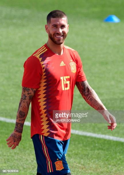 Spain's defender Sergio Ramos smiles during a training session at Las Rozas de Madrid sports city on June 5 2018
