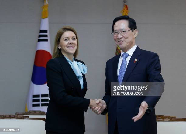 Spain's Defense Minister María Dolores de Cospedal shakes hands with her South Korean counterpart Song YoungMoo during a meeting at the Defence...