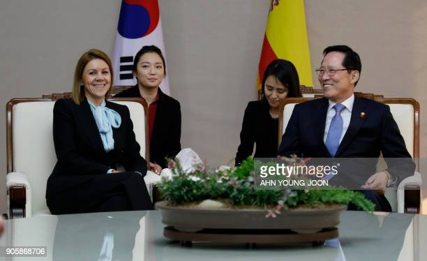 Spain's Defense Minister María Dolores de Cospedal talks with her South Korean counterpart Song YoungMoo during a meeting at the Defence Ministry in...