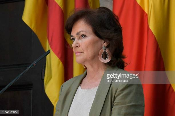 Spain´s Deputy Prime Minister and minister of equality Carmen Calvo gives a press conference on June 14 2018 in Valencia as the city prepares for the...