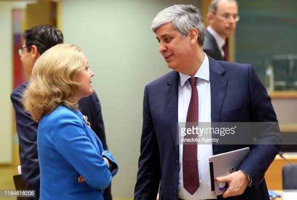 Spain's Economy Minister Nadia Calvino and Eurogroup President Mario Centeno attend Eurozone Finance Ministers' meeting in Brussels, Belgium on July...