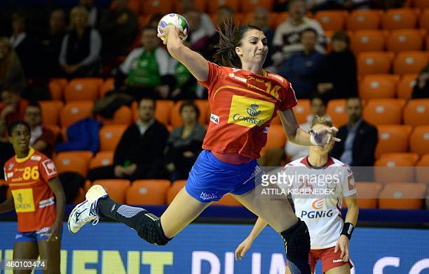 Spain's Elisabet Chavez aims to score a goal during the first match Spain vs Poland of the 2014 European Women's Handball Championships at the Audi...