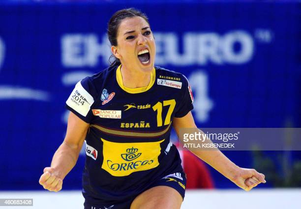 Spain's Elisabeth Pinedo celebrates her score against Montenegro in Papp Laszlo Arena of Budapest on December 19 2014 during their semifinal match of...