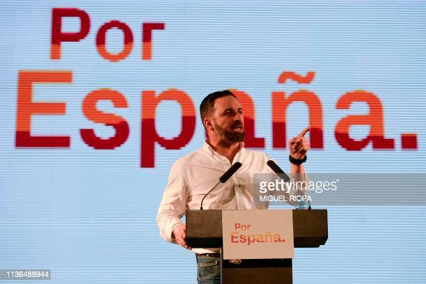 Spain's farright Vox party leader Santiago Abascal delivers a speech during a campaign rally in Oviedo in northern Spain on April 12 2019 ahead of...