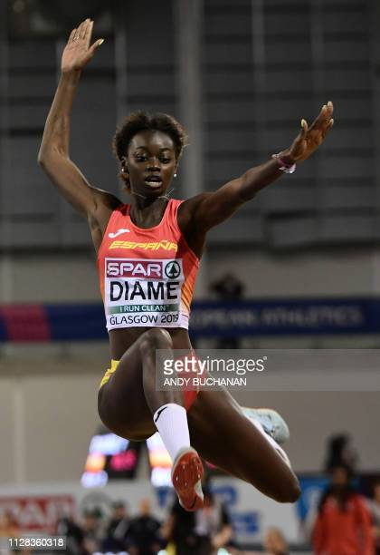 Spain's Fatima Diame competes in the womens long jump event at the 2019 European Athletics Indoor Championships in Glasgow on March 2 2019