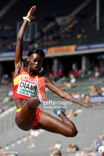 Spain's Fatima Diame competes in the women's long jump qualifying event during the European Athletics Championships at the Olympic stadium in Berlin...