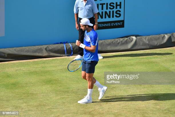 Spain's Feliciano Lopez reacts to David Goffin of Belgium during their first round men's singles match at the ATP Queen's Club Championships tennis...