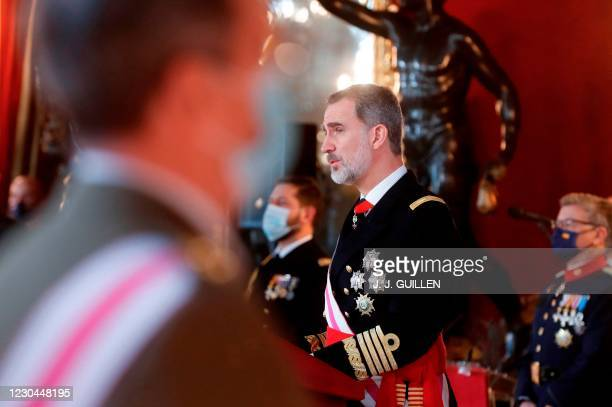 "Spain's Felipe VI delivers a speech during the ""Pascua Militar"" traditional ceremony at the Royal Palace in Madrid on January 6, 2021."