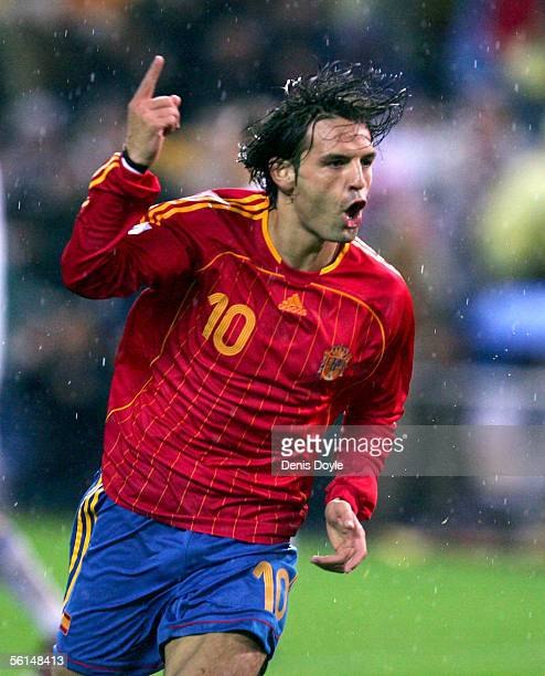 Spain's Fernando Morientes celebrates after scoring a goal against Slovakia during a World Cup qualifier playoff first leg match between Spain and...