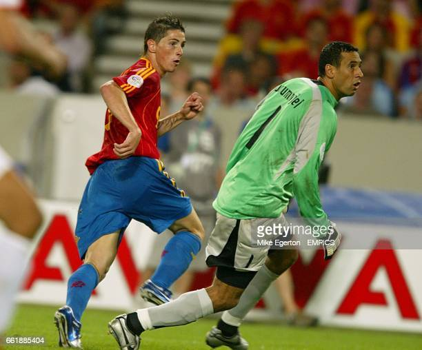 Spain's Fernando Torres scores his sides second goal past Tunisia's goalkeeper Ali Boumnijel
