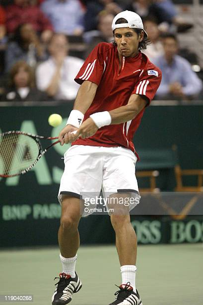 Spain's Fernando Verdasco in action during his 76 61 64 defeat by Andy Roddick at the 2007 Davis Cup tie game being played in Winston Salem North...