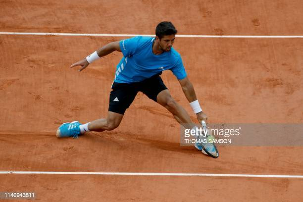Spain's Fernando Verdasco returns the ball to France's Antoine Hoang during their men's singles second round match on day five of The Roland Garros...