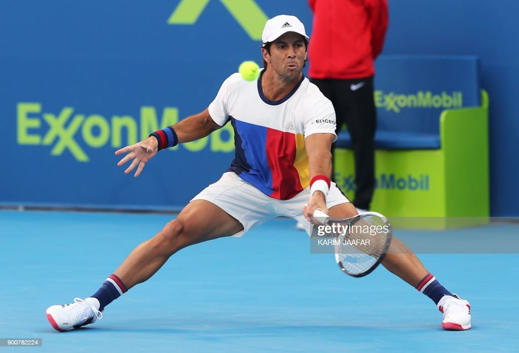 Spain's Fernando Verdasco returns the ball to Russia's Andrey Rublev during the second round of the ATP Qatar Open tennis competition in Doha on January 3, 2018. /