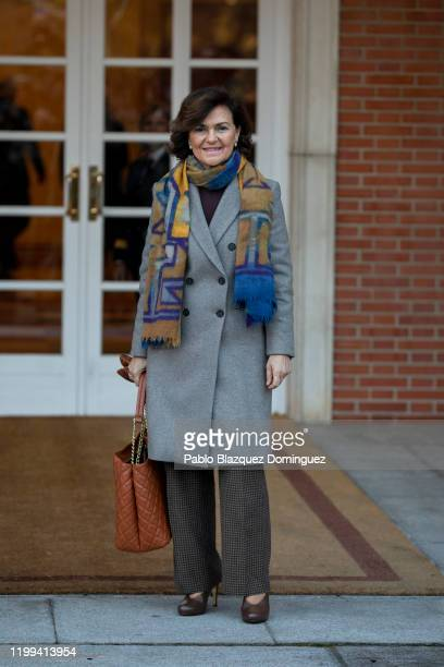 Spain's first Deputy Prime Minister and Minister of Presidency and Relations with Parliament Carmen Calvo poses for photographers before the first...