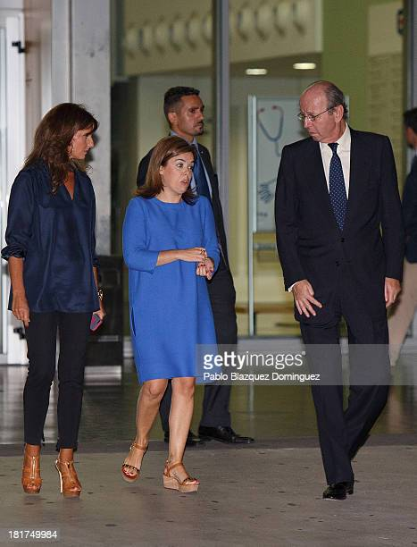 Spain's First Deputy Prime Minister government spokeswoman and Minister of the Prime Minister's Office Soraya Saenz de Santamaria leaves Quiron...