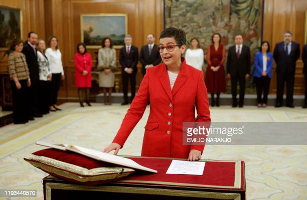 Spain's Foreign Minister Arancha Gonzalez Laya takes the oath of office during a ceremony at the Zarzuela Palace in Madrid on January 13 2020 Spain's...