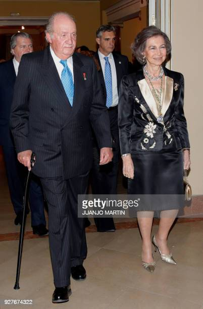 Spain´s former King Juan Carlos I and Queen Sofia arrive to attend a ceremony to celebrate his 80´s birthday at the Spanish Real Academy of History...