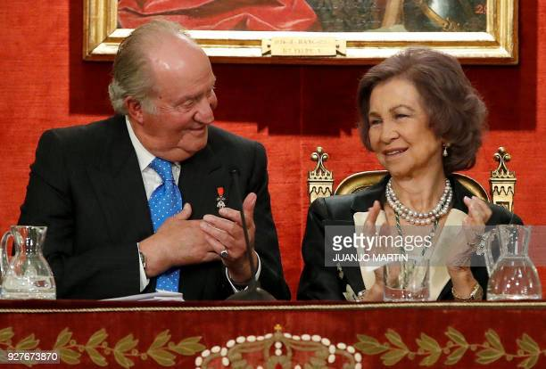Spain´s former King Juan Carlos I and Queen Sofia attend a ceremony to celebrate his 80´s birthday at the Spanish Real Academy of History in Madrid...