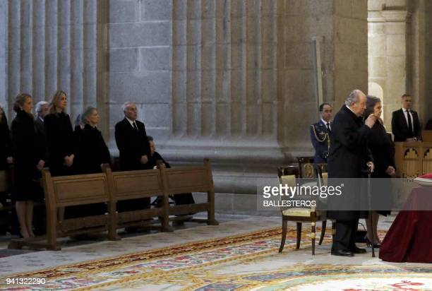 Spain's former king Juan Carlos queen Sofia and their daughters princess Elena and Cristina de Bourbon attend a memorial mass marking the 25th...