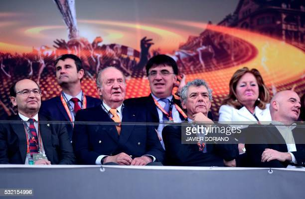 Spain's former King Juan Carlos UEFA acting president Angel Maria Villar Llona and FIFA president Gianni Infantino attend the UEFA Europa League...