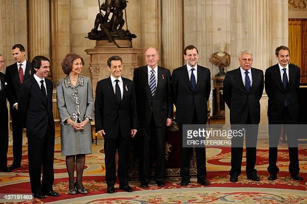 Spain's former prime minister Jose Maria Aznar, Spain's Queen Sofia, France's President Nicolas Sarkozy, Spain's King Juan Carlos, Spain's Prime...