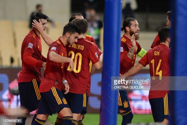 Spain's forward Alvaro Morata celebrates after scoring a goal during the UEFA Nations League footbal match between Spain and Germany at La Cartuja...