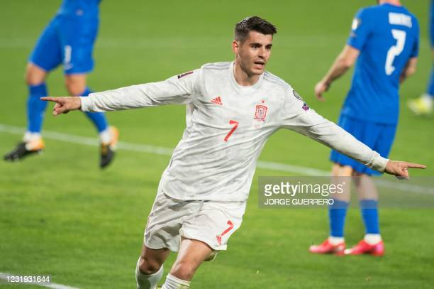 Spain's forward Alvaro Morata celebrates after scoring during the FIFA World Cup Qatar 2022 qualification football match between Spain and Greece on...