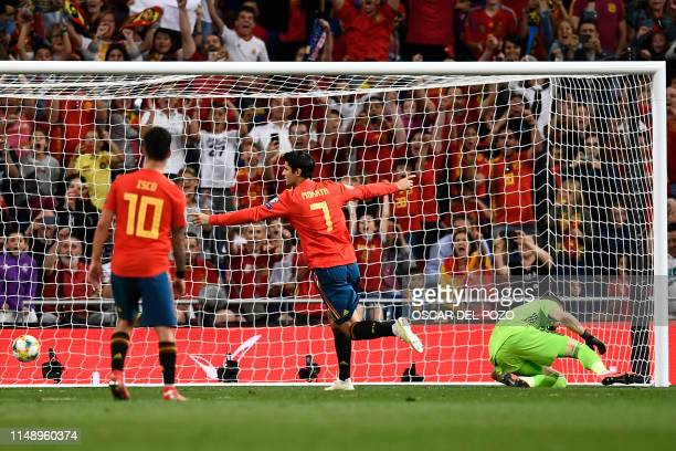 Spain's forward Alvaro Morata celebrates after shooting a penalty kick to score Spain's second goal during the UEFA Euro 2020 group F qualifying...