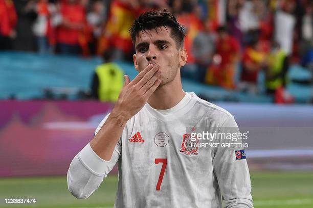Spain's forward Alvaro Morata celebrates scoring his team's first goal during the UEFA EURO 2020 semi-final football match between Italy and Spain at...