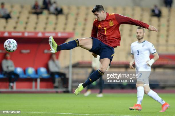 Spain's forward Alvaro Morata controls the ball during the FIFA World Cup Qatar 2022 qualification football match between Spain and Kosovo at La...