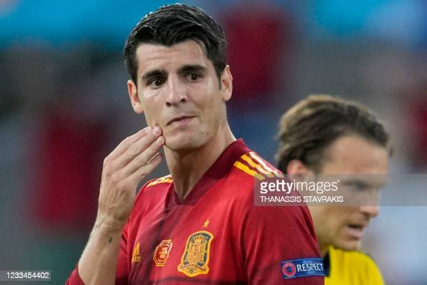 Spain's forward Alvaro Morata reacts after missing a chance during the UEFA EURO 2020 Group E football match between Spain and Sweden at La Cartuja...