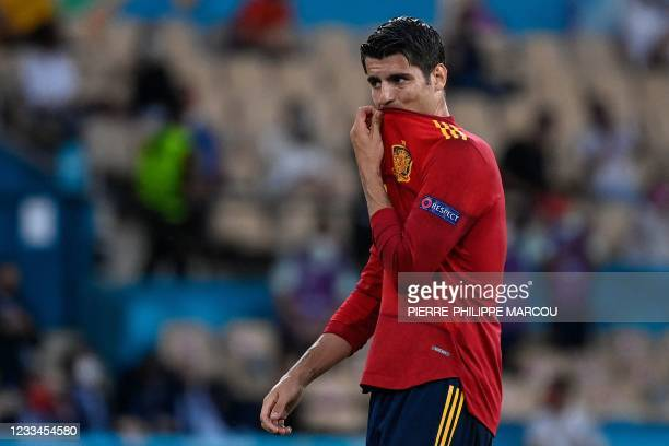 Spain's forward Alvaro Morata reacts after missing a goal opportunity during the UEFA EURO 2020 Group E football match between Spain and Sweden at La...