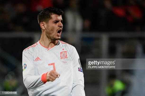 Spain's forward Alvaro Morata reacts during the Euro 2020 Group F qualifying football match Malta vs Spain on March 26 2019 at the Ta' Qali Stadium...