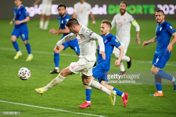 Spain's forward Alvaro Morata scores a goal during the FIFA World Cup Qatar 2022 qualification football match between Spain and Greece on March 25,...