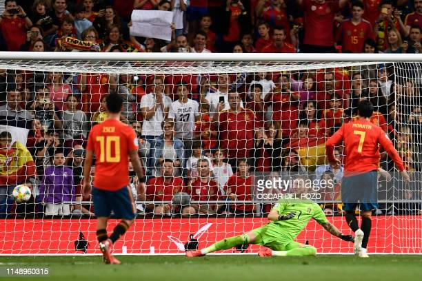 Spain's forward Alvaro Morata shoots a penalty kick to score Spain's second goal during the UEFA Euro 2020 group F qualifying football match between...