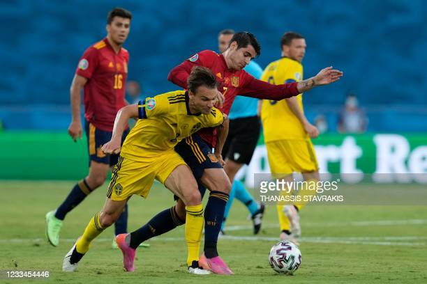 Spain's forward Alvaro Morata vies for the ball with Sweden's midfielder Albin Ekdal during the UEFA EURO 2020 Group E football match between Spain...